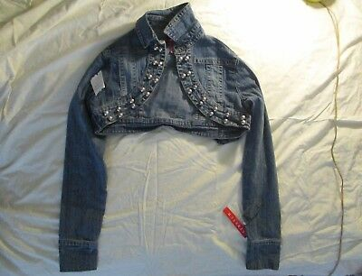 90's Style Crop Jean Jacket, Beaded, Retro Coachella, Punk or Sexy, Never worn