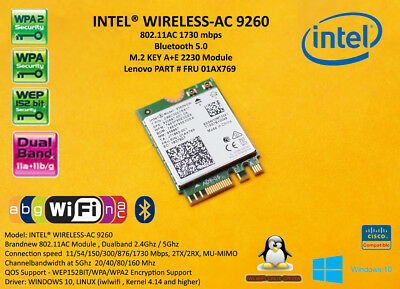 Intel Wireless AC 9260 NGW NGFF M.2 1730Mbps FRU 01AX769 SPS 920687-001 BT5.0