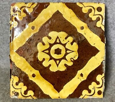 Medieval Slipware Pottery Tile 5 Inch Square 17th Century Floor Tile