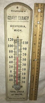 Antique Hesperia Michigan Mi Wood Thermometer Sign Chaney Funeral Embalmer Old