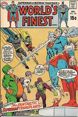 Silver Age, World's Finest Comics #190 (Dec 1969, DC) Superman Robin Batman VG/F
