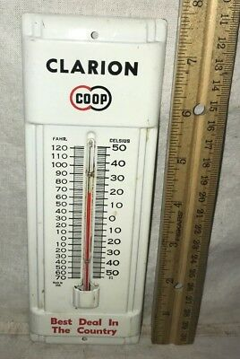 Antique Clarion Iowa Ia Coop Tin Litho Thermometer Sign Vintage Farm Agrigulture
