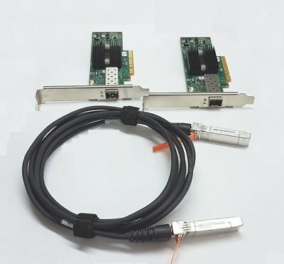 LOT OF 2 MNPA19-XTR 10GB Network Kit Mellanox ConnectX-2 10Gbe NIC 3m SFP+ Cable