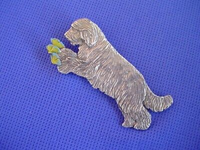 Bearded Collie Butterfly pin Pewter Herding Dog Jewelry by Cindy A. Conter 74B