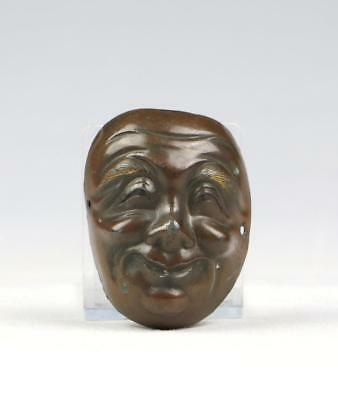 Superb Antique 18/20thC Edo / Meiji Japanese Bronzed Netsuke Kabuki Mask