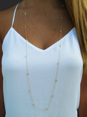 Long Necklace CZ Drop Dangle Charms Thin Delicate Chain Station SILVER GOLD