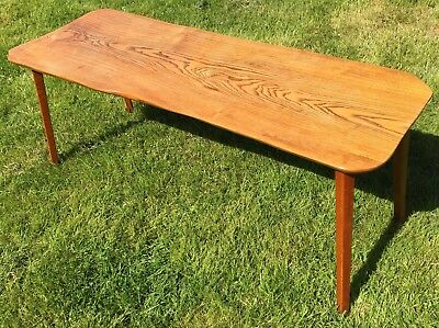 Vintage Oak Coffee Table Solid Slab Classic Design