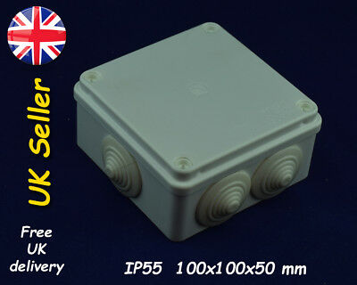 Weatherproof enclosure Junction box 100x100x50mm IP55 Grey with grommets