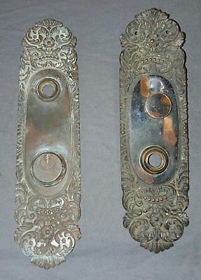 2 Vtg Brass Oval Door Plates Japanned Decorative Antique 38-18F