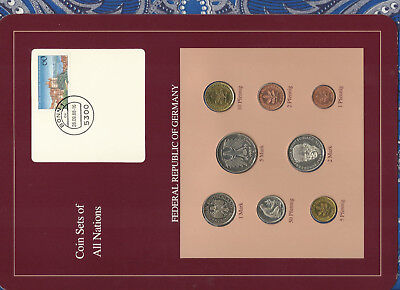 Coin sets of all nations Germany w/card 1986-1989 UNC 5 Mark 1987 2 Mark 1989