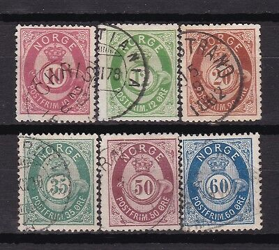 Norway no 25-27 and 29b-31, Shaded posthorns