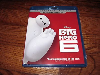 Big Hero 6:Disney (Blu-ray/DVD+Digital HD, 2015, 2-Disc Set) New; I Ship Faster