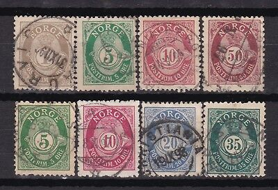 Norway, 8 posthorns perf. 13 1/2 x 12 1/2, Central and Knudsen printin.