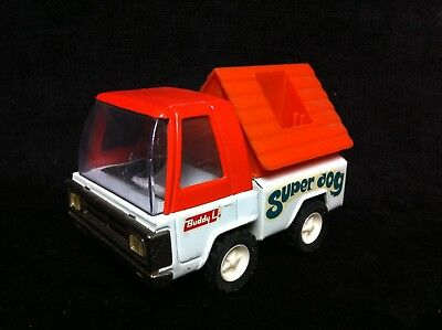 Clean Vintage 70s BUDDY L SUPER DOG Presed Steel Pick Up Truck Snoopy Camper