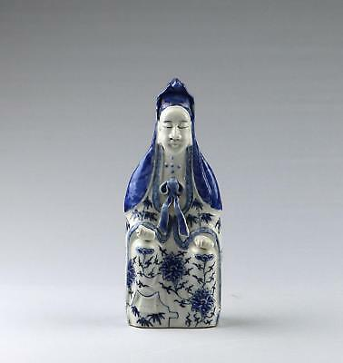 Very Fine Antique 19/20thC Chinese Qing Blue & White Porcelain Guanyin Figure
