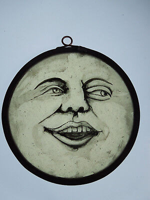 Interesting Stained Glass Laughing Moon Medieval Victorian Decorative Interior