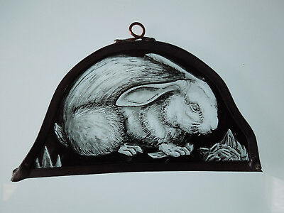 Interesting Stained Glass Rabbit Bunny Medieval Victorian Decorative Interior