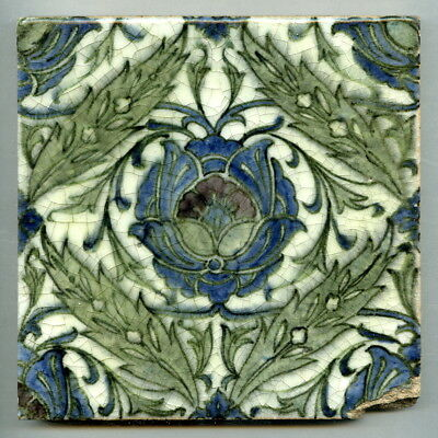 "Early hand painted and alkaline glazed 6"" square tile by Candy & Co, c1920"