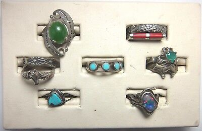 10 Sterling Silver Rings Large Jewelry Lot No Scrap Opal Jade Turquoise Coral
