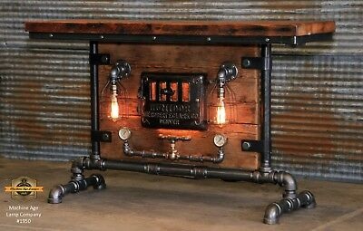 Steampunk Industrial Machine Age Steam Gauge Table Stand Bar Console Lamp Boiler