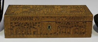 Chinese Canton export sandalwood rectangular box, late 19th century