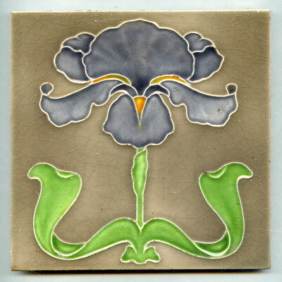 "Relief moulded 6"" square Art Nouveau tile by JH Barrett, c1910"