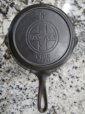 "Griswold 724L Cast Iron Skillet #5 Large Logo 8"" Pan Heat Ring Erie Vtg Antique"