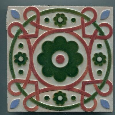 """Relief moulded 6"""" square Majolica tile by Maw & Co, c1870"""