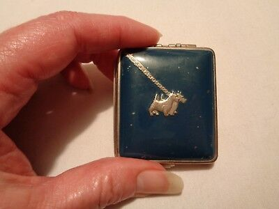 vintage small metal lady's powder compact 2 silver scotties blue 2 compartments