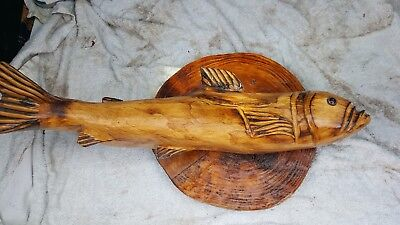 Hand carved wood carving of a fish