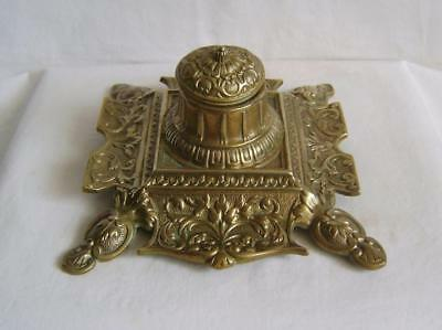 Victorian Baroque Square  Brass Inkwell Pen Stand : Maker Croft & Assinder  A/F