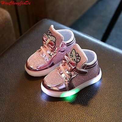 Led Sneakers Hello Kitty Light Lace Up Kids Shoes Lace Up Luminous Girls Shoes
