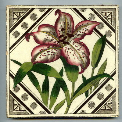"Transfer printed and hand tinted 6"" square Victorian tile by T&R Boote, c1890s"