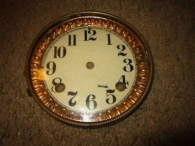 8 Day Antique Cast Iron Ansonia Mantle Clock Dial Bezel Gl