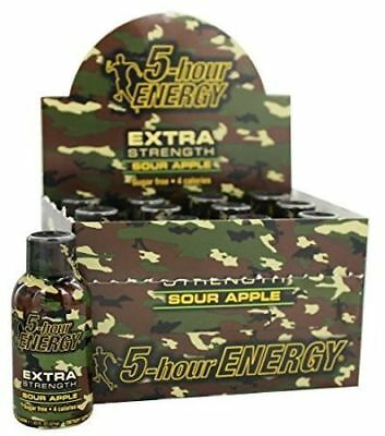 5 Hour Energy EXTRA Strength Sour Apple - Case 24 BOTTLES - 1.93oz Shot No Sugar