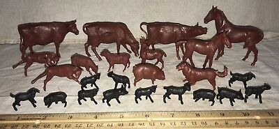Antique 24 Marx Toy Farm Barn Plastic Animal Set Vintage Old Cow Horse Goat Dog