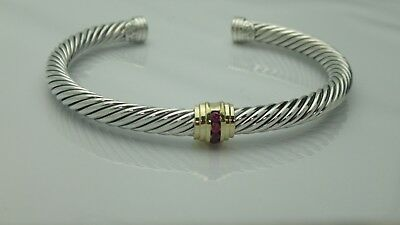 David Yurman Cable Classics Single-Station Bracelet with Ruby and Gold