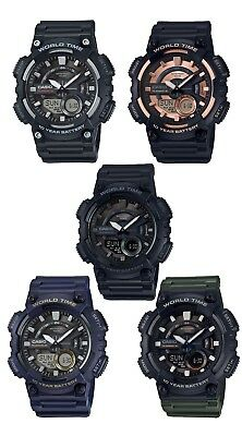 Casio AEQ110W Men's World Time Telememo Analog Digital Alarm Chrono Watch