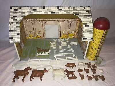 Antique Ohio Art Tin Litho Toy Barn Silo Fence Animals Farm Set Vintage Cow Pig
