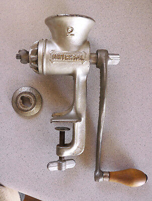 Universal No. 2 cast iron antique/vintage meat grinder, two blades