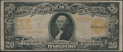 1906 $20 Large Size Gold Certificate Fr-1185 in Fine F Condition