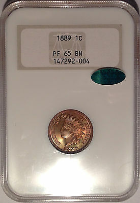 1889 NGC & CAC PR 65 BN Proof Indian Head Cent 1C - Old Holder NGC Fatty
