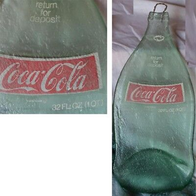 Vintage Coca Cola Glass Bottle Flat Snack Cheese Tray 32 Oz-Quart 1970's