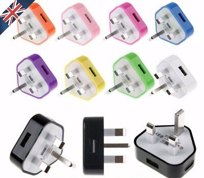 Universal AC 100V-240V to 5V 1A CE USB Wall Mains Plug Adapter Charger Colours