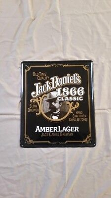 Jack Daniels Metal Bar Sign Advertisement Decoration. Black White and Gold