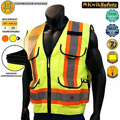 KwikSafety Class 2 Heavy Woven Two Tone Engineer Hi Viz Orange Yellow Small/Med