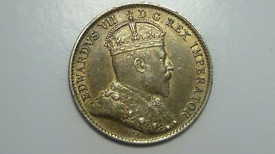 1910 Canadian 5 Cents  Pointed Leaves    VF/XF