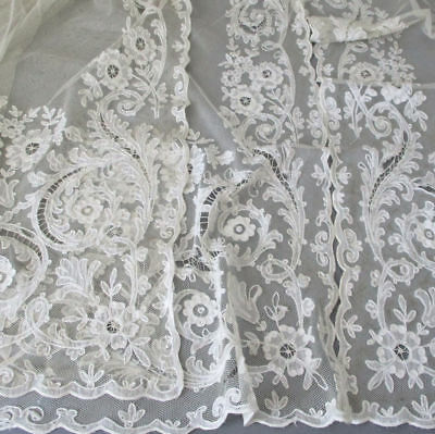 "3 Vintage French TAMBOUR LACE Embroidered + Appliqued Panels 61"" X 35"" * AS IS"