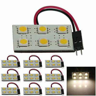 10x Warm White Car Panel Reading Light Dome Blub 6 5050 SMD LED T10 festoon J001