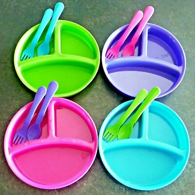 Kids 3 Section Divided Plate Fork & Spoon Set 3 Pieces Toddler